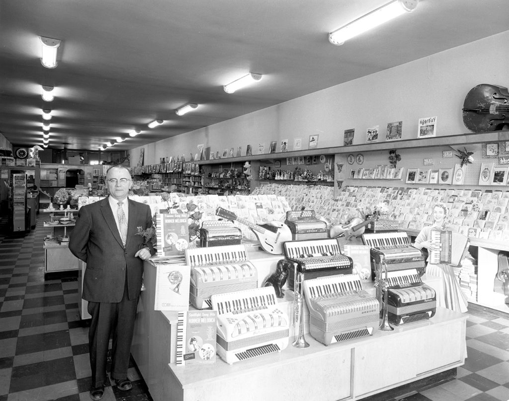Image: Paul's Music and Book Supply Store (detail), B-7353, Saskatoon Public Library, Local History, 1961