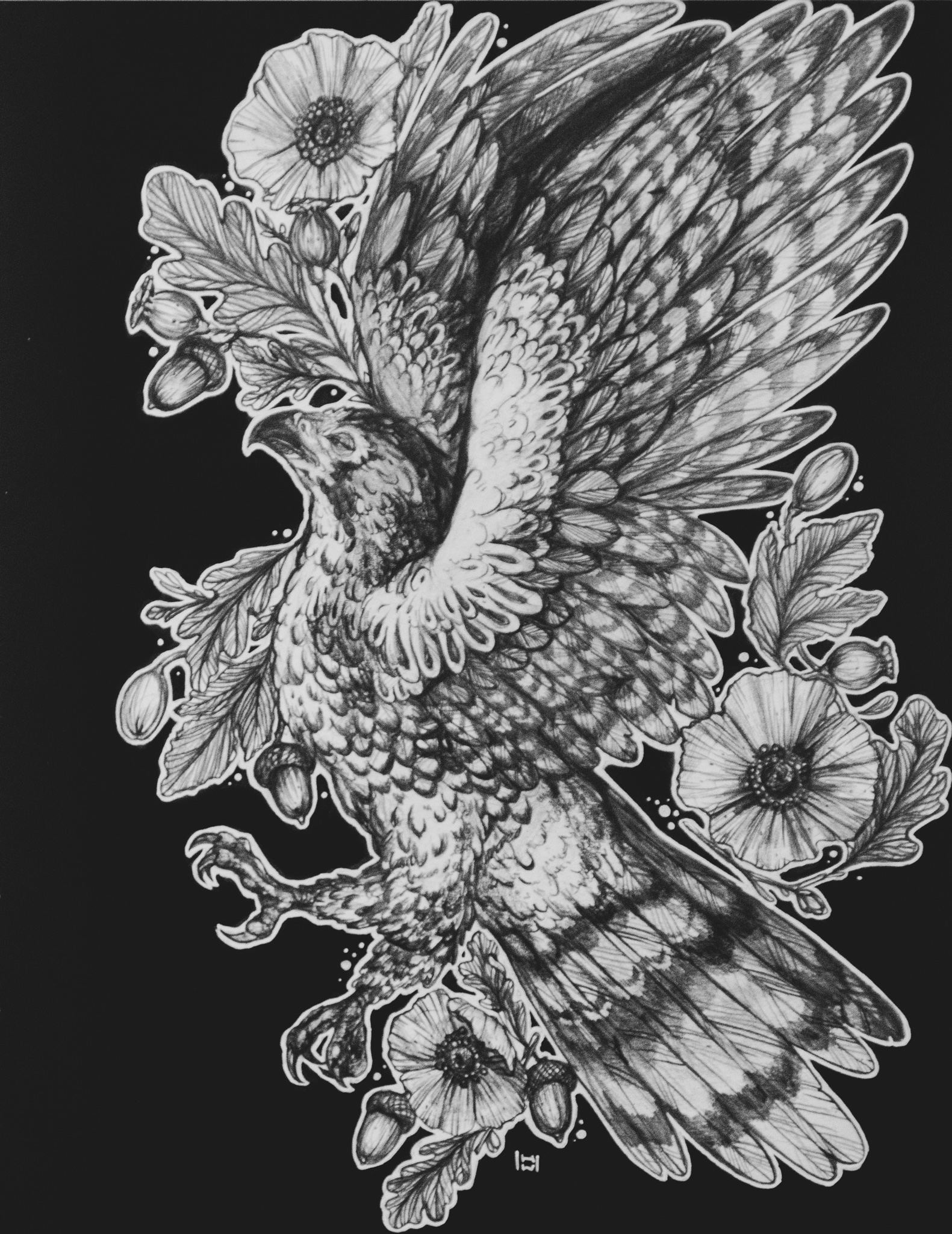 Fletching - eagle with flowers